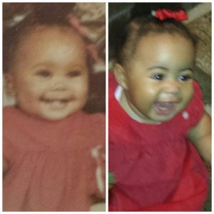 Me and Kailey baby pics in our red dresses