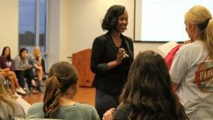 Summer Owens, motivational speaker, conducting a workshop for the Pi Beta Phi Sorority