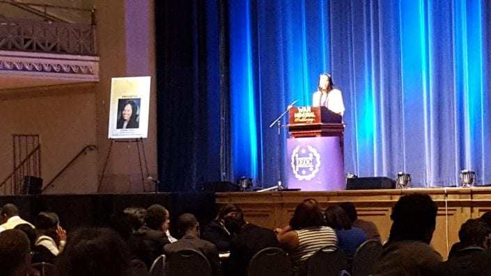 Summer Owens speaks to hundreds of high school students at the Tennessee state Capitol